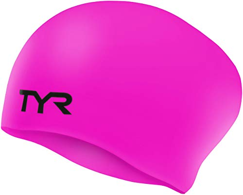 TYR Wrinkle Free Silicone Swim Cap, Fluorescent Pink