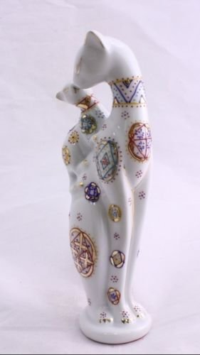 Feng Shui Cat- Hand Crafted and Decorated Chinese Porcelain,figurine D090113. (White) (Porcelain Cat)