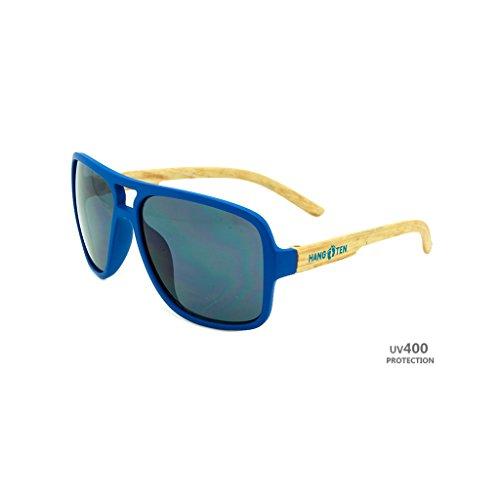 Hangten Kids UV400 Sunglasses, Blue Logo with Wood Grain Like - Sunglasses Logo