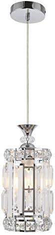 KRASTY Adjustable Modern Chrome Crystal Ceiling Pendant Light, Hanging Pendant Lighting Fixture for Kitchen Island Dining Room Living Room Bedroom