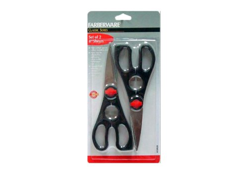 Farberware 5140338 Rust Resistant Stainless Steel Utility Shears Set with Contoured Handles, Black