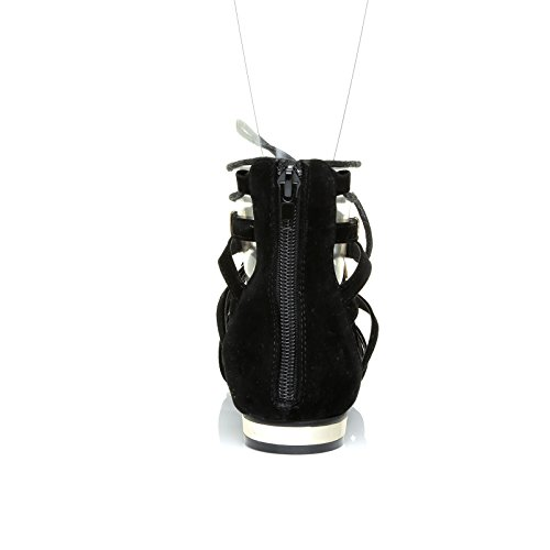 Noir Daim Chaussures Dentelle Avec Or Garniture Spartiates En En Jusqu'à Pointu Bout Karen E5qxH0fp