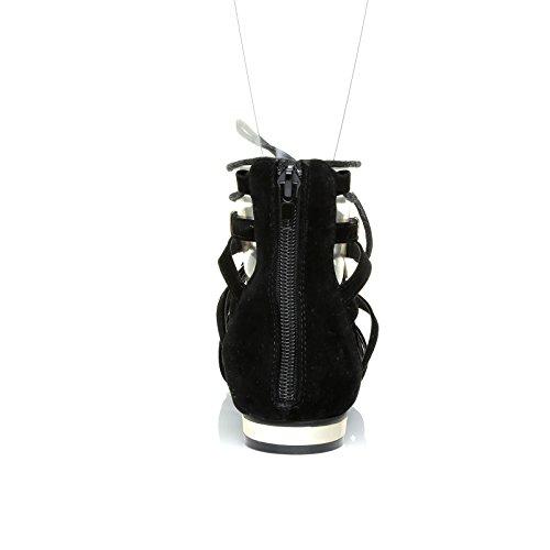Karen Black Suede Pointed Toe Lace up Gladiator Sandal Shoes with Gold Trim mcek8TV