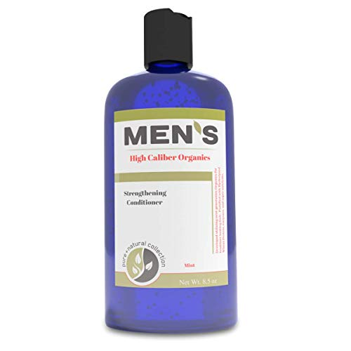 Mens Conditioner - Organic - Silicone Free - Powerpacked with Hydrolyzed Wheat Protein, Pro Vitamin B5, Organic White Willow Bark Extract - Mint 8.5 oz