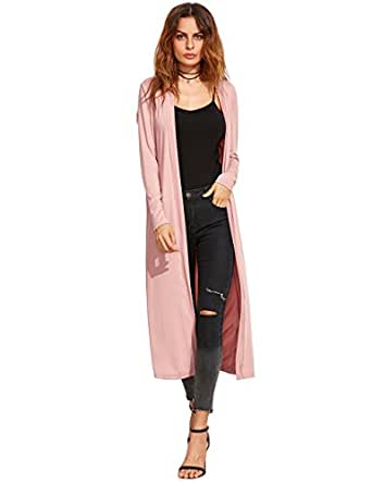 9940c7f9f09 Image Unavailable. Image not available for. Color  Verdusa Women s Long  Sleeve Open Front Long Maxi Cardigan Longline Duster ...