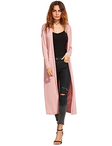 Verdusa Women's Long Sleeve Open Front Long Maxi Cardigan Longline Duster Coat A&Pink L