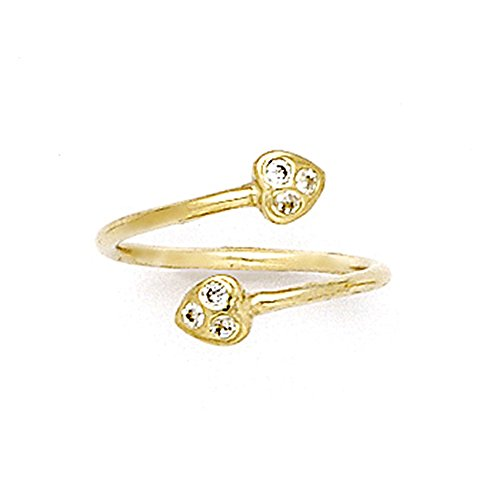 Au Toe Ring - Body Candy 10k Yellow Gold Double Heart Cubic Zirconia Wrap Toe Ring