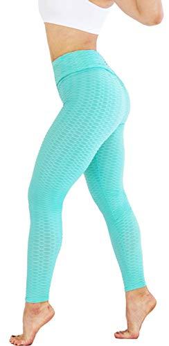 Bubble Workout Women's High Waist Yoga Pants Tummy Control Slimming Booty Leggings Workout Running Ruched Butt Lift Tights (Aqua, Medium) (Best Bubble Butt Workout)