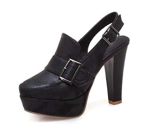 Mujeres Hebilla Tamaño Zapatos Super 40 Tacón Sandalias 2019 Primavera Grande Glter Plataforma Verano 50 Black Slingback De 4wnqOdYqxz