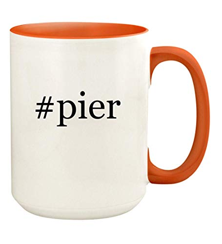 (#pier - 15oz Hashtag Ceramic Colored Handle and Inside Coffee Mug Cup, Orange)