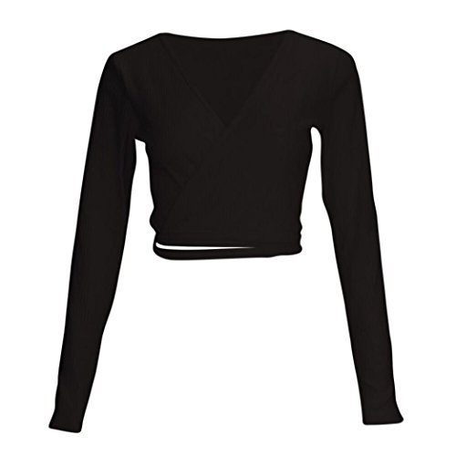YUMM Donna Top Casual Camicetta Crop T Neck Tops V Nero Bendare Solido Ladies Shirt rrqwBSd