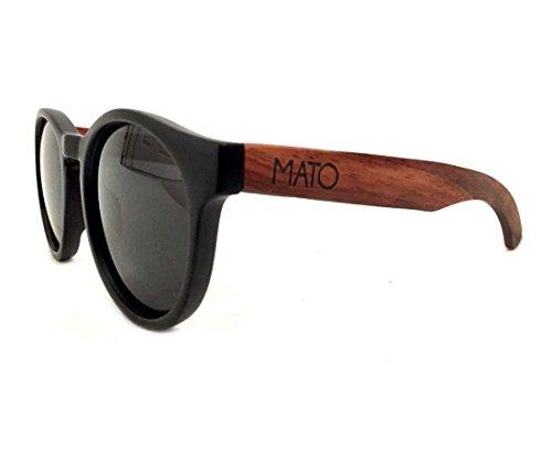 Mato Wooden Sunglasses Erika Round Oval Polarized Brown Lens Wood Bamboo Sunglasses Case - Erika Wood