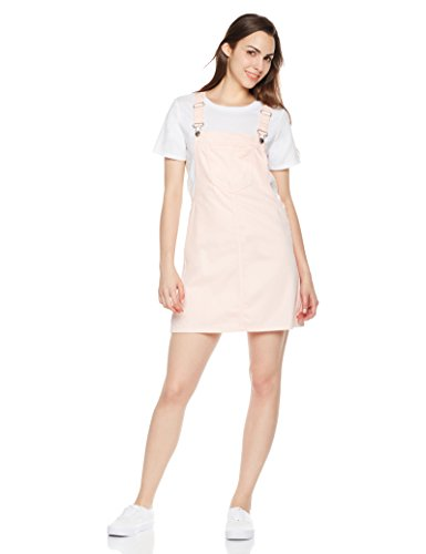- Lily Parker Women's Classic Adjustable Strap Denim Overall Dress Small Pink