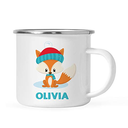 (Andaz Press Personalized 11oz. Christmas Hot Chocolate Stainless Steel Coffee Campfire Mug Gift, Woodland Animal Fox, 1-Pack, Custom Name Enamel Metal Camp Cup Birthday for Him Her, Includes Gift)