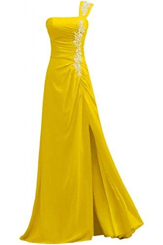 anteriori Abito sera laterali sera Oro da Dresses One Gowns Pageant tracolla Sunvary Party vestiti da qxgPXn