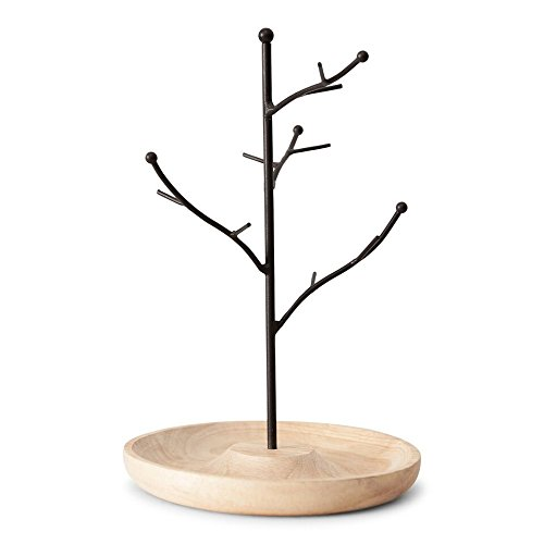 Unique, Stylish Iron and Wood Jewelry Tree/Stand/Holder,  Keeps Earrings, Bracelets, Rings and Jewelry Organized and On Display (Wood Base Tree Jewelry Stand)