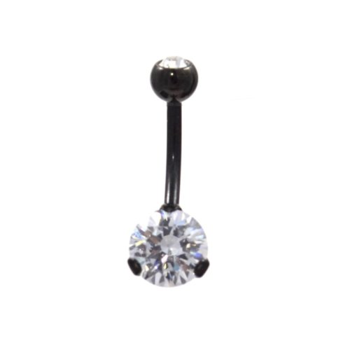 """Black Titanium Plated Navel Ring Clear Prong CZ Gem Stones Belly Piercing Jewelry 14g 3/8"""""""