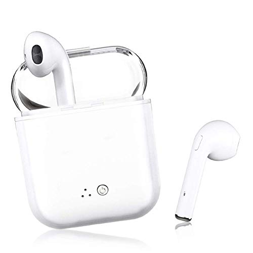 Bluetooth Earbuds, White Wireless Earbuds in-Ear Headphones Hands Free Noise Cancelling Headset Compatible with iPhone XR X 8 8plus 7 7Plus 6 6plus Samsung Galaxy S9 S8 Huawei & Other Android Divices