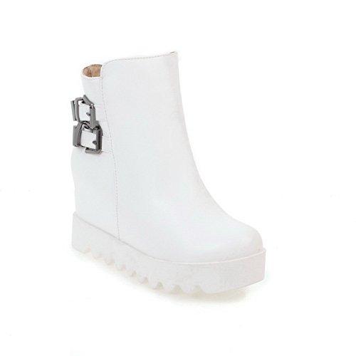 BalaMasa Womens Fashion Slip-Resistant Buckle Urethane Boots ABL10254 White vGqika0a