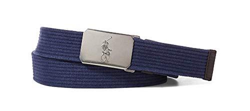 POLO RALPH LAUREN Men's Plaque-Buckle Cotton Belt Aviator Navy (L)