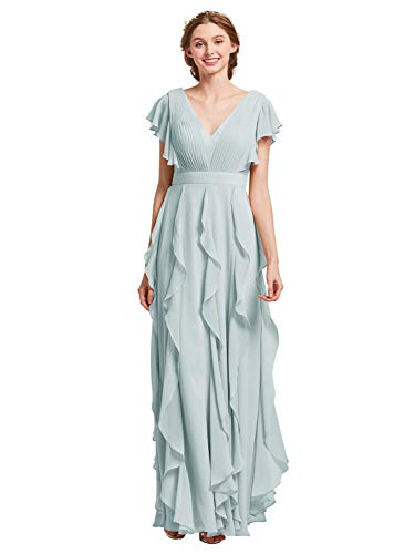 AW Bridal Long Bridesmaid Dresses for Women Formal Dresses with Sleeves Chiffon Gowns and Evening Dresses, Light Sky, US16
