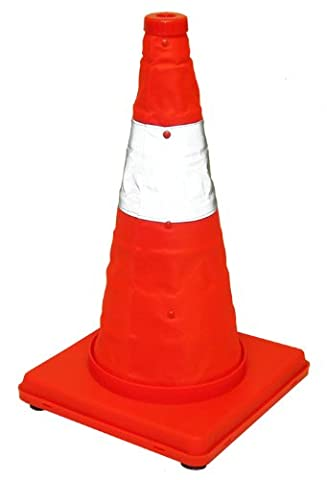 Eurow Reflective Safety Cone with Nighttime LED Lights Multipurpose Traffic Sports Extendable Collapsible Easy Storage, 17 - Traffic Cone
