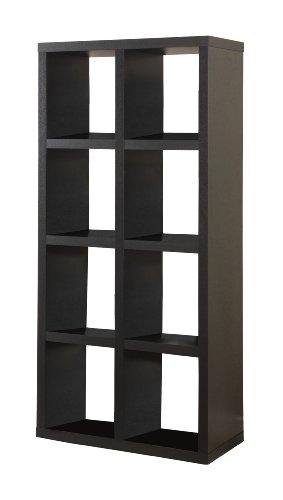 Linon Home Decor Hollowcore 8-Cube Tall Bookcase, Black