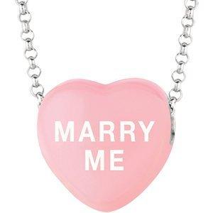 """Stars rose clair émail coeur """"Marry Me sur 40,6cm Collier avec boîte cadeau"""