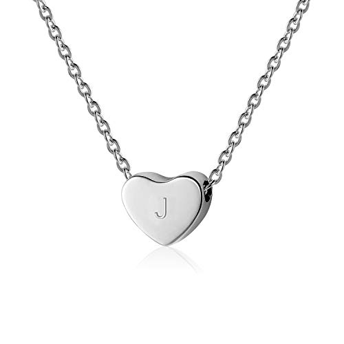 - SANXIULY Initial Letter Heart Necklace:14K White Gold Plated for Women and Girls Letter J