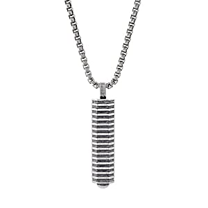 Ben Sherman Oxidized Stainless Steel Geo Bar Pendant Rolo Chain Necklace for Men