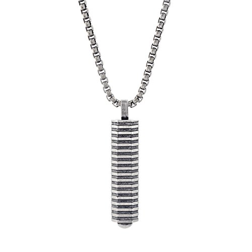 Ben Sherman Oxidized Stainless Steel Geo Bar Pendant Rolo Chain Necklace for Men from Ben Sherman