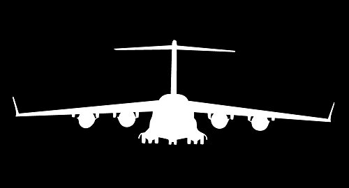 Auto Vynamics - MILITARY-PLANECHOPPER01-5-GWHI - Gloss White Vinyl Military Plane/Helicopter Silhouette Decal - Boeing C-17 Globemaster III Design - 5-by-1.625-inches - (1) Piece Kit - Single Decal