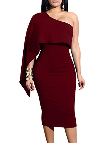 (GOBLES Women's Summer Sexy One Shoulder Ruffle Bodycon Midi Cocktail Dress Burgundy)