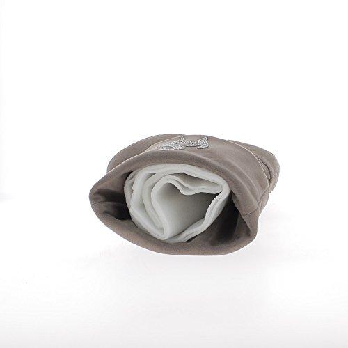 Caldo offset cuffed stivali color tortora 8cm con tacco strass