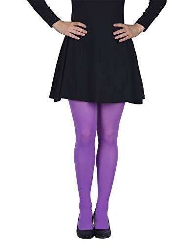 HDE Womens Solid Gradient Color Stockings Opaque Microfiber Footed Tights,XS-M,Purple