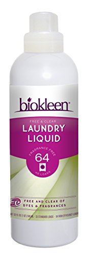 Biokleen Laundry Detergent Liquid, Concentrated, Eco-Friendly, Non-Toxic, Plant-Based, No Artificial Fragrance, Free & Clear, Unscented, 32 Ounces - 64 HE Loads/32 Standard Loads (Pack of 6) (Concentrated Detergent 3x Laundry Liquid)