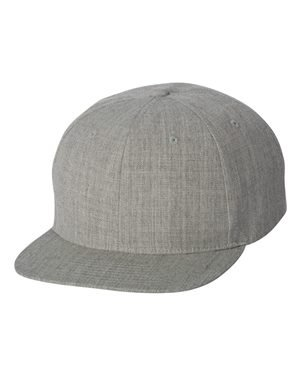 Wholesale Wool Blend Flexfit Yupoong Flat Bill Blank Snapback Hats w/ Green Underbill (Heather Grey) - 20582