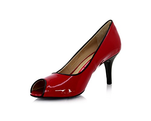 Rockabilly Peep Toes Stiletto 7cm Tangorot Lackleder