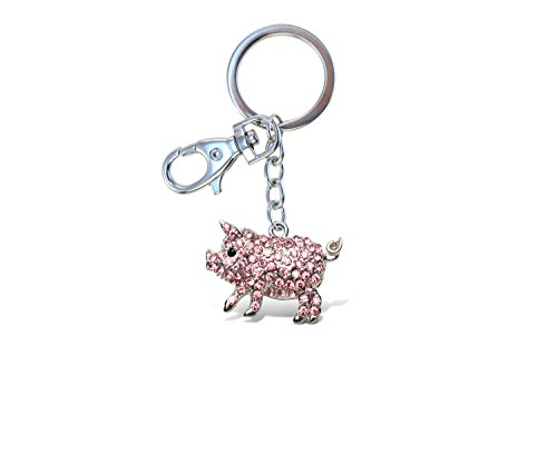 Puzzled Pink Pig Sparkling Charm - Unique Piggy Keychain In Rust Proof Metal And Rhinestone Crystals 5 Inch Fashionable Pendant Bling With Durable Key Ring And Clasp - Collectible Organizer -Item 6645 -