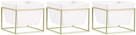 AmazonBasics – Portapiante da tavolo, quadrato, bianco/ottone (confezione da 3)
