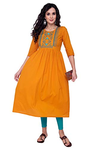 M&D 3/4 Sleeve Pure Cotton A line Embroidery Kurti for Women