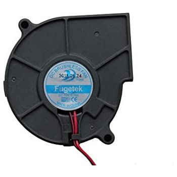 Fugetek 12V DC Brushless Blower Cooling Fan, HT-07530D12, 75x75x30mm, 2pin, Dual Ball Bearing, Computer Fan, Multi Use, Black, US Support