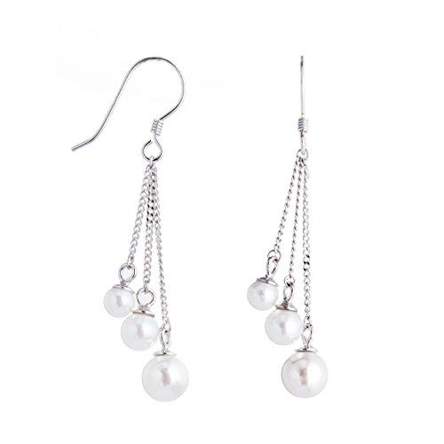 Adstones Sterling Silver White Freshwater Cultured Pearl Vintage Tassel Drop Earrings for Women