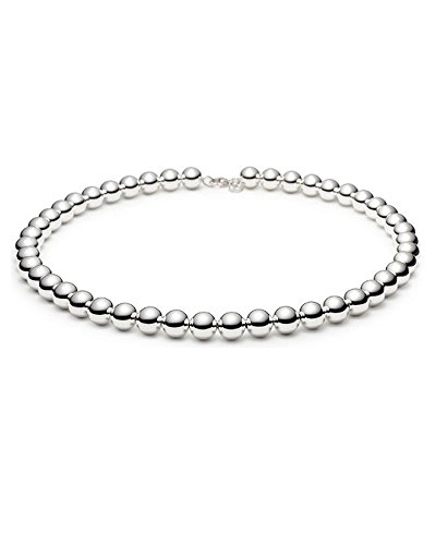 Round 10mm Bead Ball Necklace in Sterling Silver 18