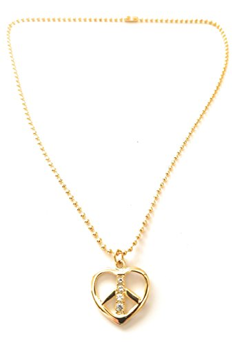 Peace Sign Pendant Rhinestone Heart Peace Sign Pendant Necklace (Goldtone Rhinestone Heart Shaped Peace Sign Necklace) (Gold Rhinestone Pendant Tone)