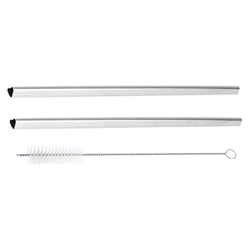New-Sky-View - 1/2/3/5Pcs Reusable Drinking Straw Heart Shaped Stainless Steel Metal Straws Reusable Straw with Cleaning Brush Bar Accessories