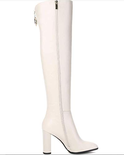 Stivali New Knee Boots Female The In Winter 2018 Shiney Autumn White High Women Over Pelle Chunky And Heel wnZH0q