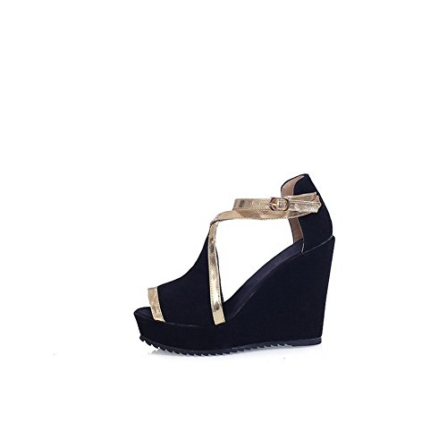 AmoonyFashion Womens Frosted Assorted Color Buckle Peep Toe High Heels Sandals Black WYwIbfv