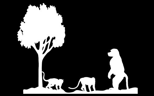 Auto Vynamics - ANIPAIRS-MONKEYS-10-GWHI - Gloss White Vinyl Animal Family Pair Scene Decal - Monkeys / Baboons w/ Tree Design - 10-by-7.5-inches - (1) Piece Kit - Single Decal