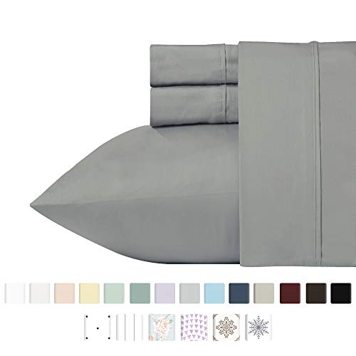 Egyptian Slate - 400 Thread Count 100% Cotton Sheet Set, Slate Grey Queen Sheets 4-Piece Long-staple Combed Pure Natural Best Cotton Bed Sheets For Bed, Soft & Silky Sateen Sheets Fits Mattress Up to 18'' Deep Pocket